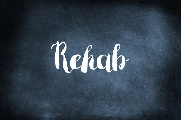 Rehab written on a blackboard