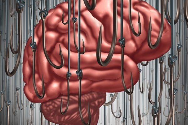Addiction and dependency concept as a human brain being lured and surrounded by fishing hooks as a risk symbol and metaphor for a drug addict or the danger of alcoholism gambling and drug abuse smoking as a mental health problem.